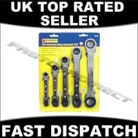 5PC RATCHET SPANNER SET HIGH QUALITY WRENCH TOOLS GARAGE HOME